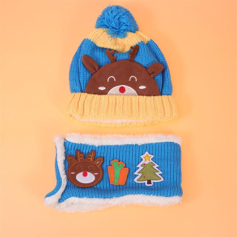 Baby Deer Pattern Hat Set Kid Winter Knitting Wool Yarn Scarf Kit Outdoor Warm Headwears For Children Warm Kids Neckerchief