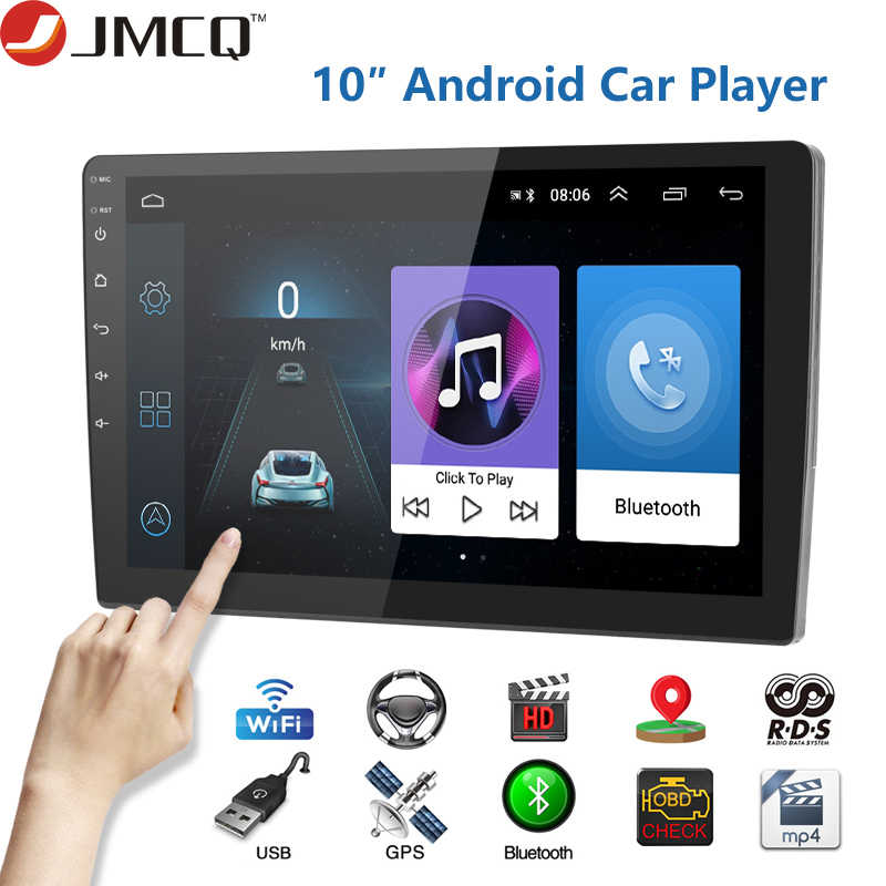 Jmcq 10 Inch 2din Mobil Radio Android 8.1 Universal GPS WIFI Layar Sentuh Mobil Audio Stereo FM Mobil Multimedia MP5 pemain Mirror-Link