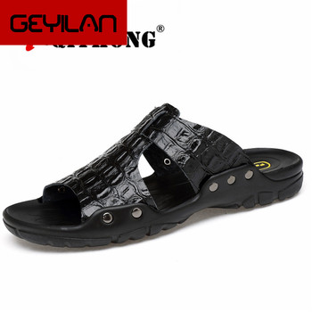 Genuine Leather Slippers Men Summer Sandals Breathable  Brand Designer Stylish Shoes Real Leather Seaside Beach Flats