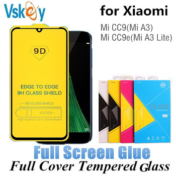 VSKEY 100pcs 2.5D Full Cover Tempered Glass for Xiaomi Mi CC9 CC9e Screen Protector Mi A3/A3 Lite Protective Film