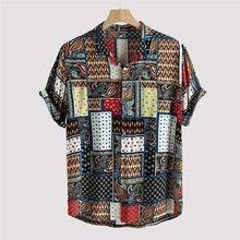 Camisa holgada de manga corta con cuello levantado para hombre, blusa de oficina de alta calidad con estampado de moda étnica Vi