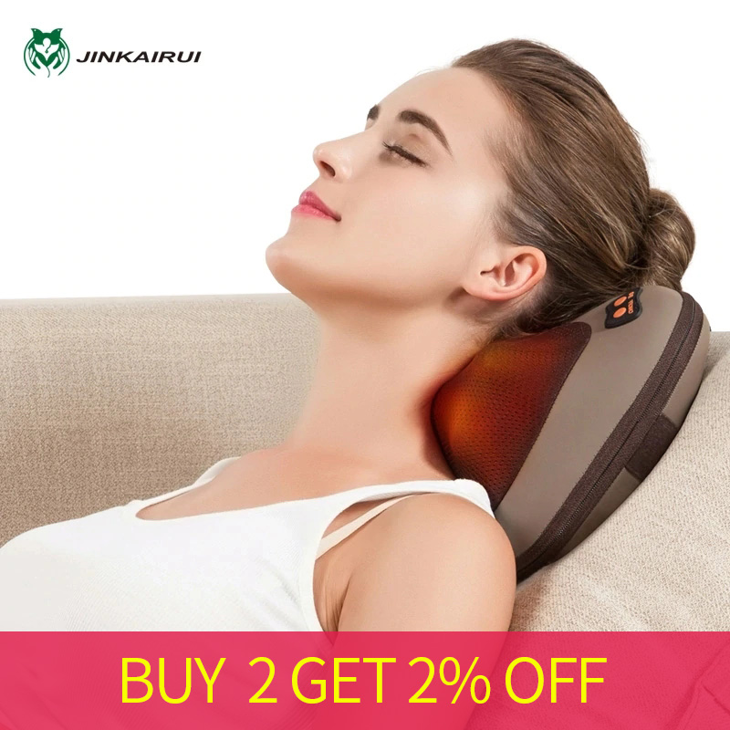 JinKaiRui Vibrating Kneading Neck Body Massager Hammer Pillow Infrared Shiatsu Electric Shoulder Back Massage Massagem Car/Home