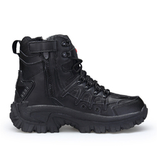 Winter/Herfst Mannen Hoge Kwaliteit Merk Militaire Lederen Laarzen Speciale Kracht Tactische Desert Combat Boten Outdoor Schoenen Snowboots