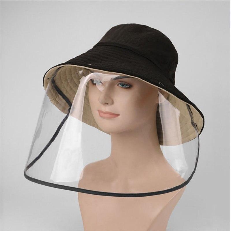 Summer Black Bucket Hat Women Men Hats Cover Removable Sun Cap Outdoor Fisherman Hat With Face Sheild Plastic Chapeau