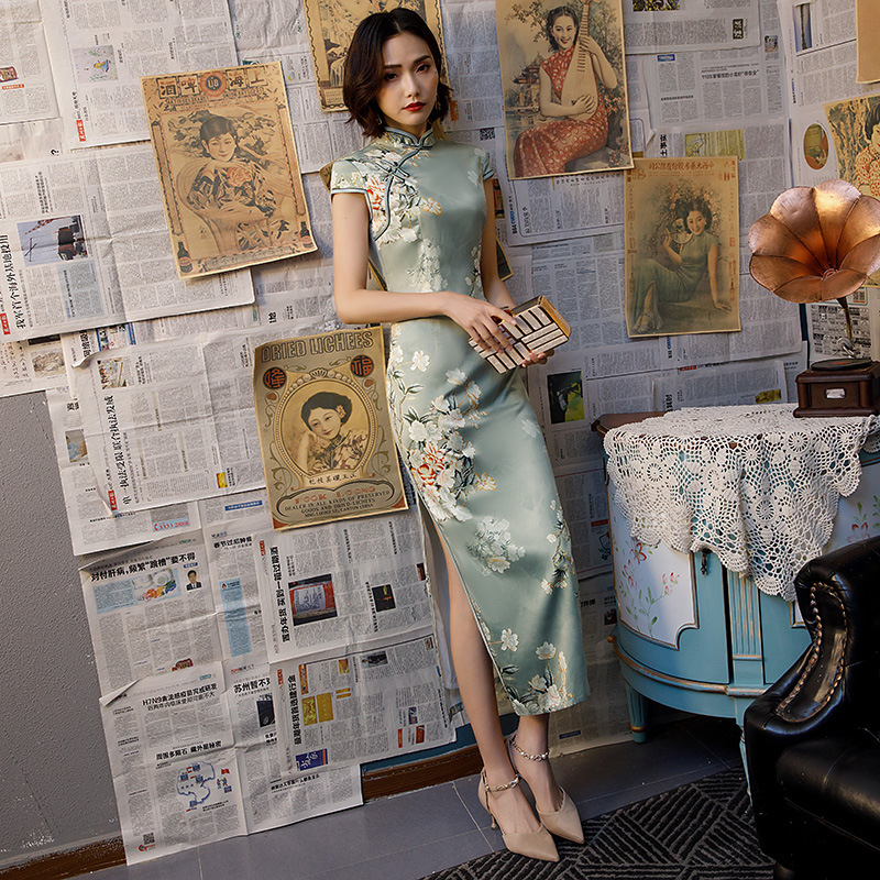 SHENG COCO Pretty Chinese Dress Qipao Modern Chinese Evening Dress Women Long Silk Cheongsam   Party Dress Vestidos Guzheng 4XL