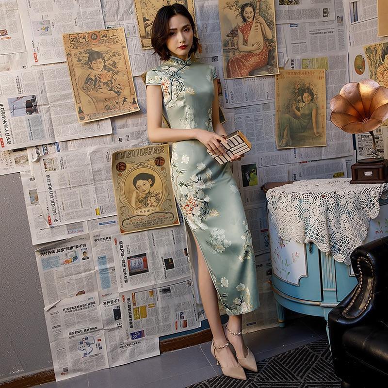 SHENG COCO Pretty Chinese Dress Qipao Modern Chinese Evening Dress Women Long Silk Cheongsam   Party Dress Vestidos Guzheng 4XL
