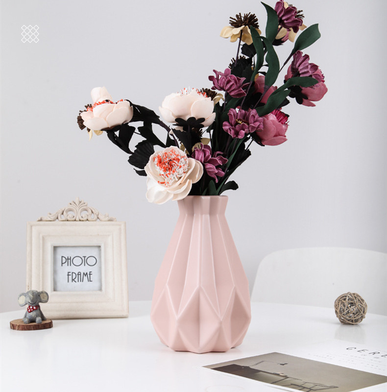 Vase White Vase-Decoration Flower-Basket Origami Plastic Ceramic Home Imitation