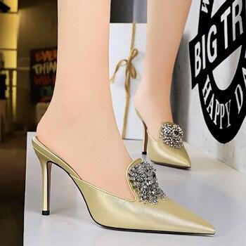 Luxury 10.5cm Crystal Silk Satin Closed Toe Slip On Heels 3