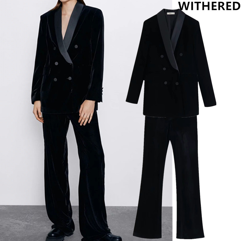 Withered England Vintage Party Simple Velvet Notched Blazer Feminino Blazer Women And Straight Pants Women Suits 2 Pieces Set