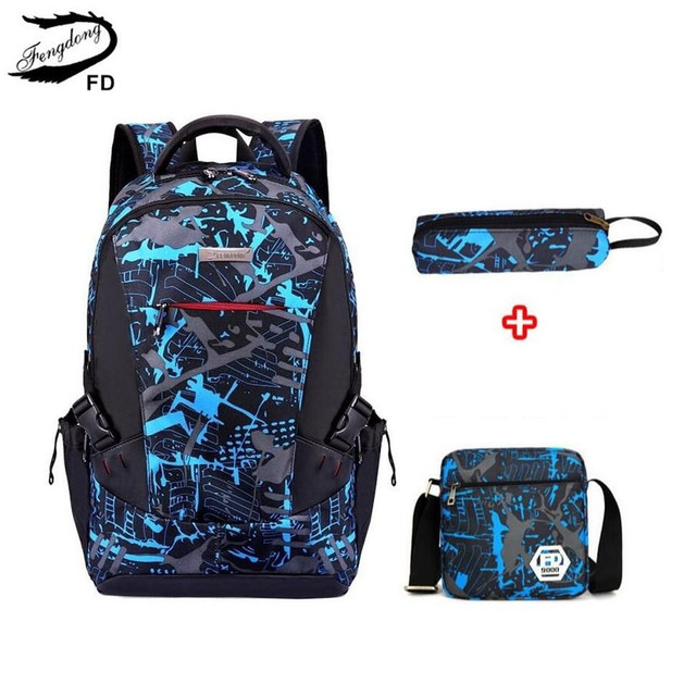 Fengdong 3pcs bag set boys school bags kids waterproof school backpack for boy bookbag student schoolbag kids pen pencil bag
