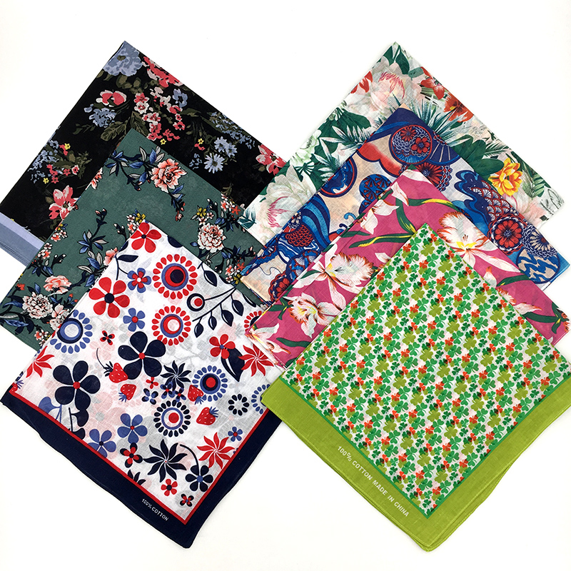 Printed Plant Flower Leaf Bandanas Cotton Square Scarf For Ladies Spring Summer Headband Neckerchief Headwear Hairband
