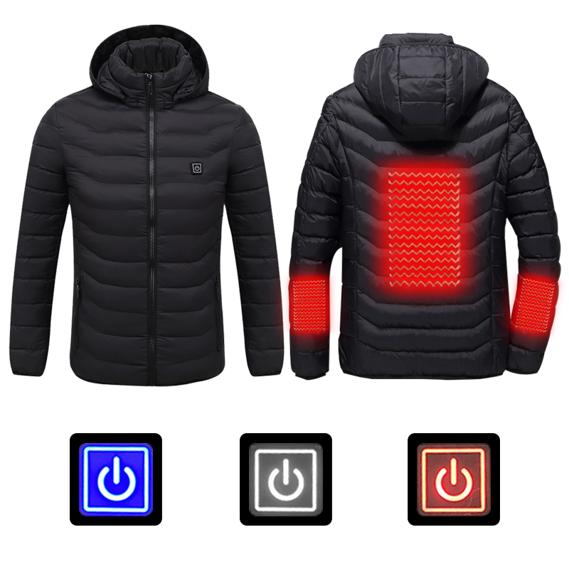 Men Winter Heated Outdoor Jacket USB Electric Battery Long Sleeves Heating Hooded Jacket Warm Winter Thermal Clothing