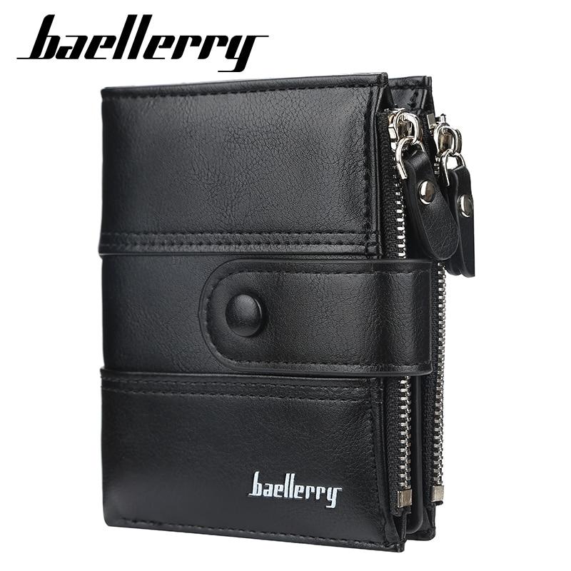 Baellerry Men Wallet Fashion Short Purse With Coin Pocket Vintage Wallets Double Zipper Men Purse Brand Male Wallet Card Holder