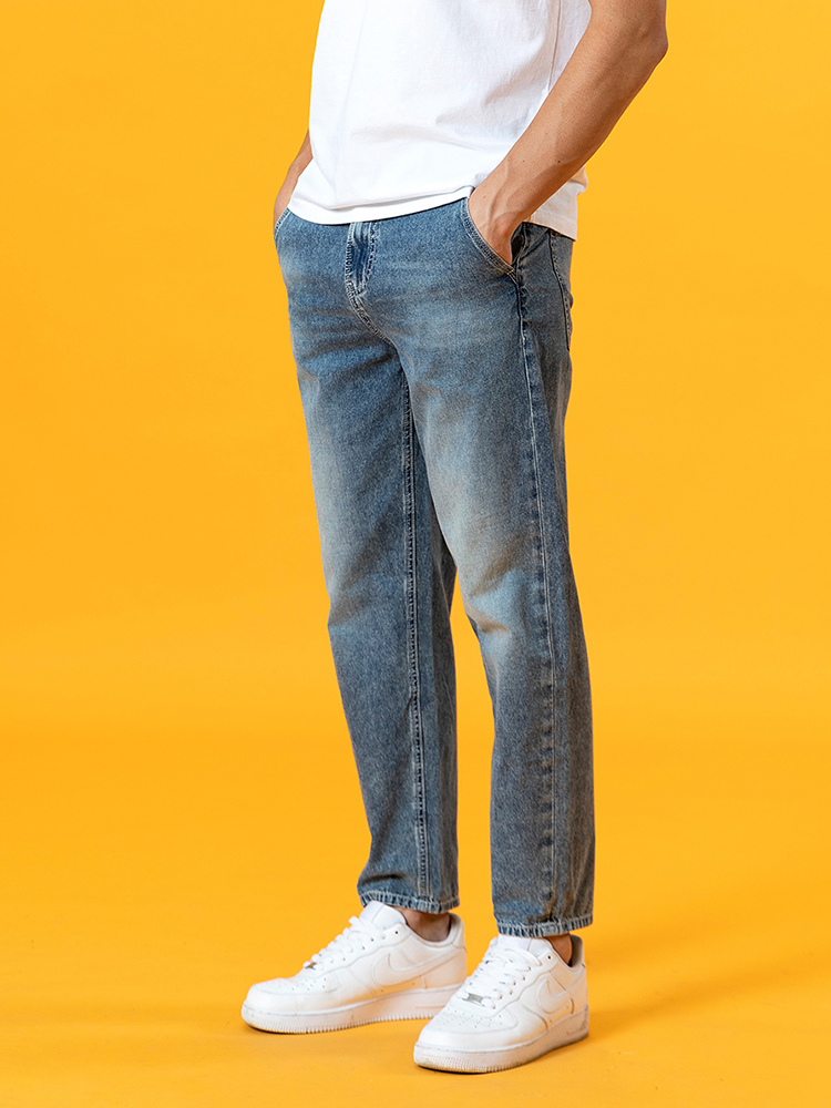 SIMWOOD Jeans Men Clothing Ankle-Length Dark-Washed Tapered Loose Plus-Size Summer Brand