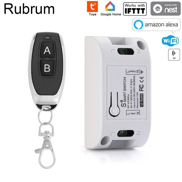 Rubrum チュウヤ wifi スマートスイッチタイマーワイヤレスリモートコントロールスイッチユニバーサルスマートホームオートメーションモジュール alexa ため google ホーム