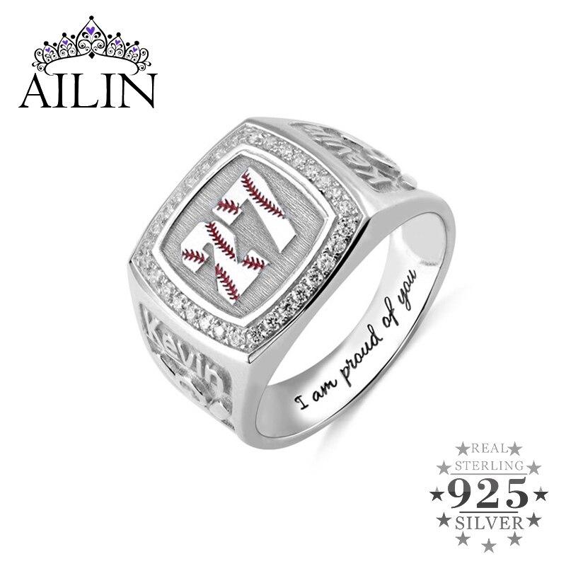 AILIN 925 argent hommes bague chevalière Vintage anneaux pour hommes Baseball texturé numéro pierre de naissance chevalière avec gravure