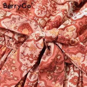 Image 5 - BerryGo bez rękawów kobiety sukienka boho Sexy bez ramiączek potargane kwiatowy print letnia sukienka wysokiej wais sash wakacje plaża sukienka kobieta