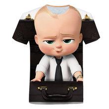 Teen 3d impressão bebê chefe filme camiseta crianças menino roupas anime dos desenhos animados camiseta crianças verão roupas diversão casual topo