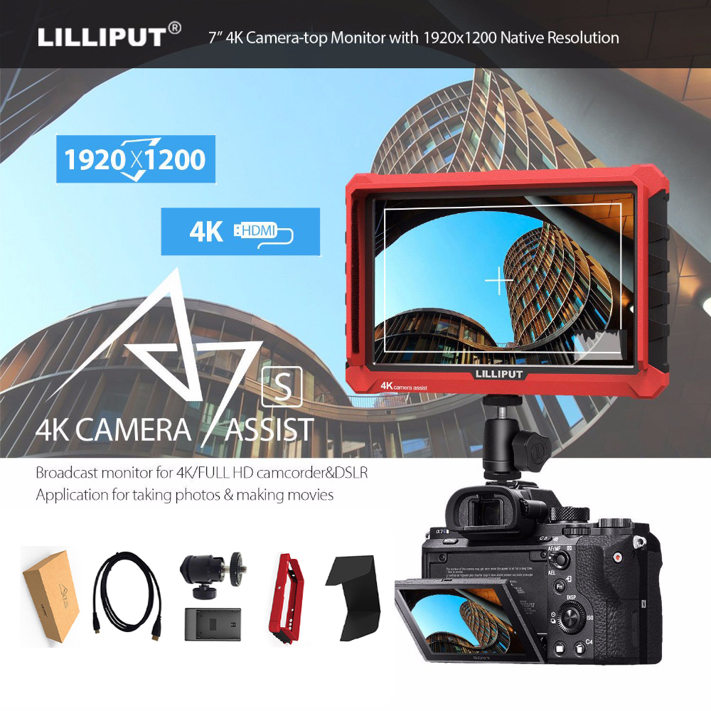 like Atomos Lilliput A7S 7 Inch 4k HD 1920x1200 HDMI camera Video Field Monitor for Canon Nikon ZHIYUN Crane DJI ronin s gimbal 90 corner clamp shopify