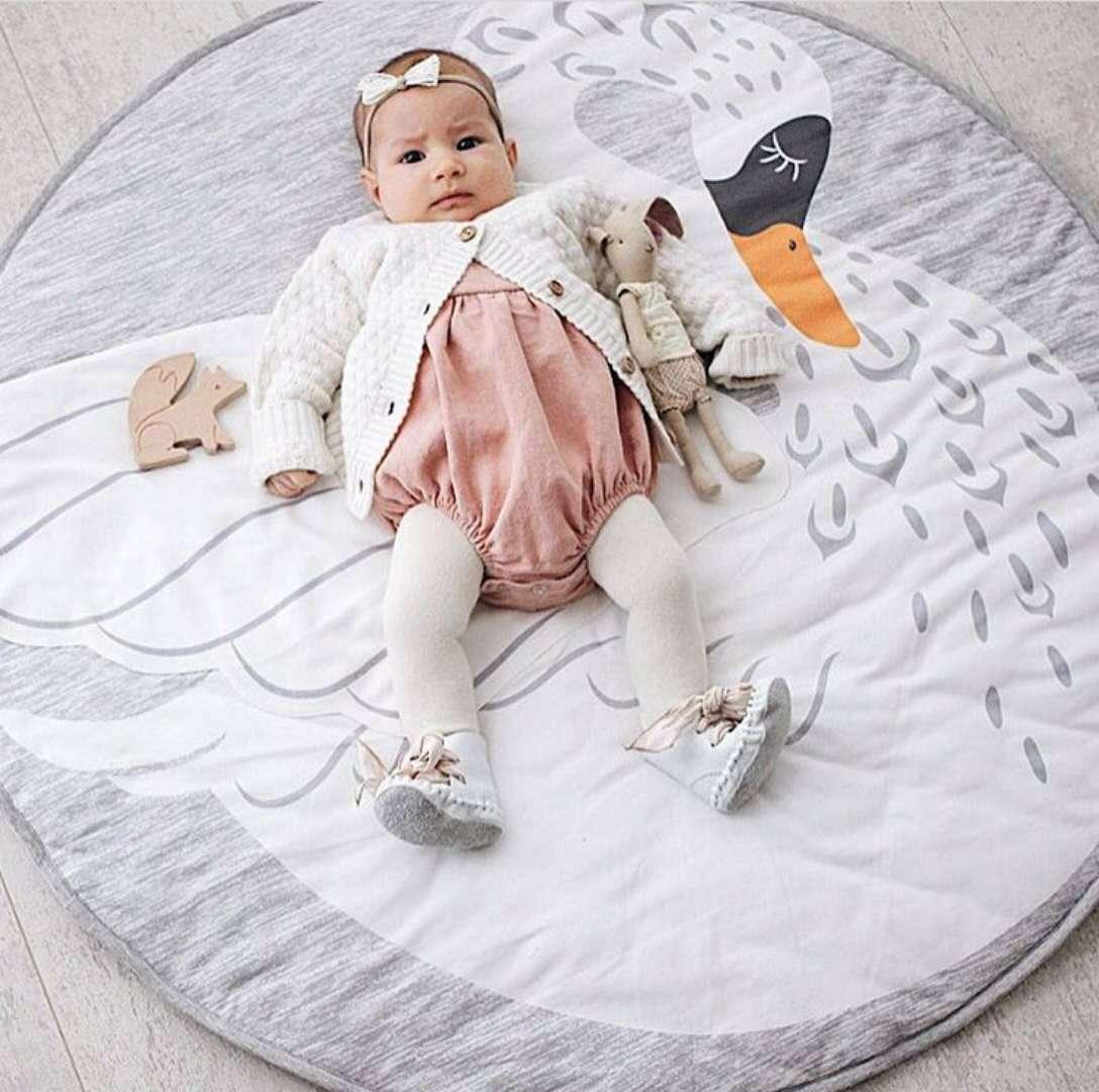 H2a78f725906e40398e784702d78dbbe2g Ins Cartoon Baby Play Mats Pad Toddler Kids Crawling Blanket Round Carpet Rug Toys Mat For Children Room Decor Photo Props