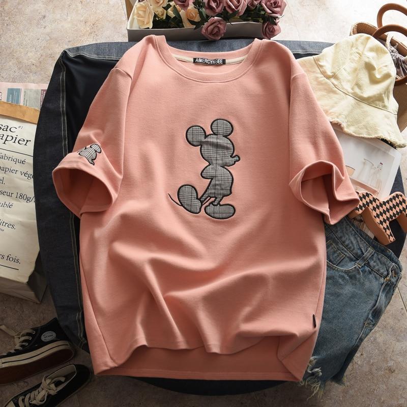 Summer Mickey Mouse Women Cartoon T-shirt O-Neck Korean Clothes T-shirt Lovers Short Sleeve Loose Women Shirts Kawaii Tshirt
