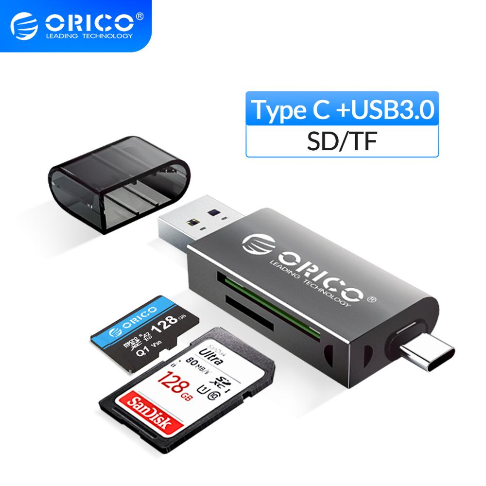 ORICO Card Reader USB 3 0 2 In 1 SD Micro SD TF OTG Smart Memory Type C Card Reader High-speed Adapter for PC Computer Laptop