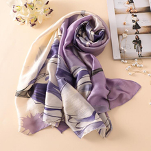 Women Silk scarf Big Flower Print Purple Beach Shawl luxury Silk Scarve