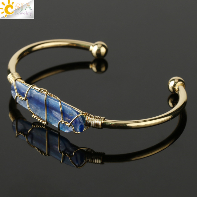 CSJA Natural Stone Bangle Gold-color Wire Wrap Irregular Crystal Quartz Cuff Copper Bracelets for Women Girls Kids Jewelry G327