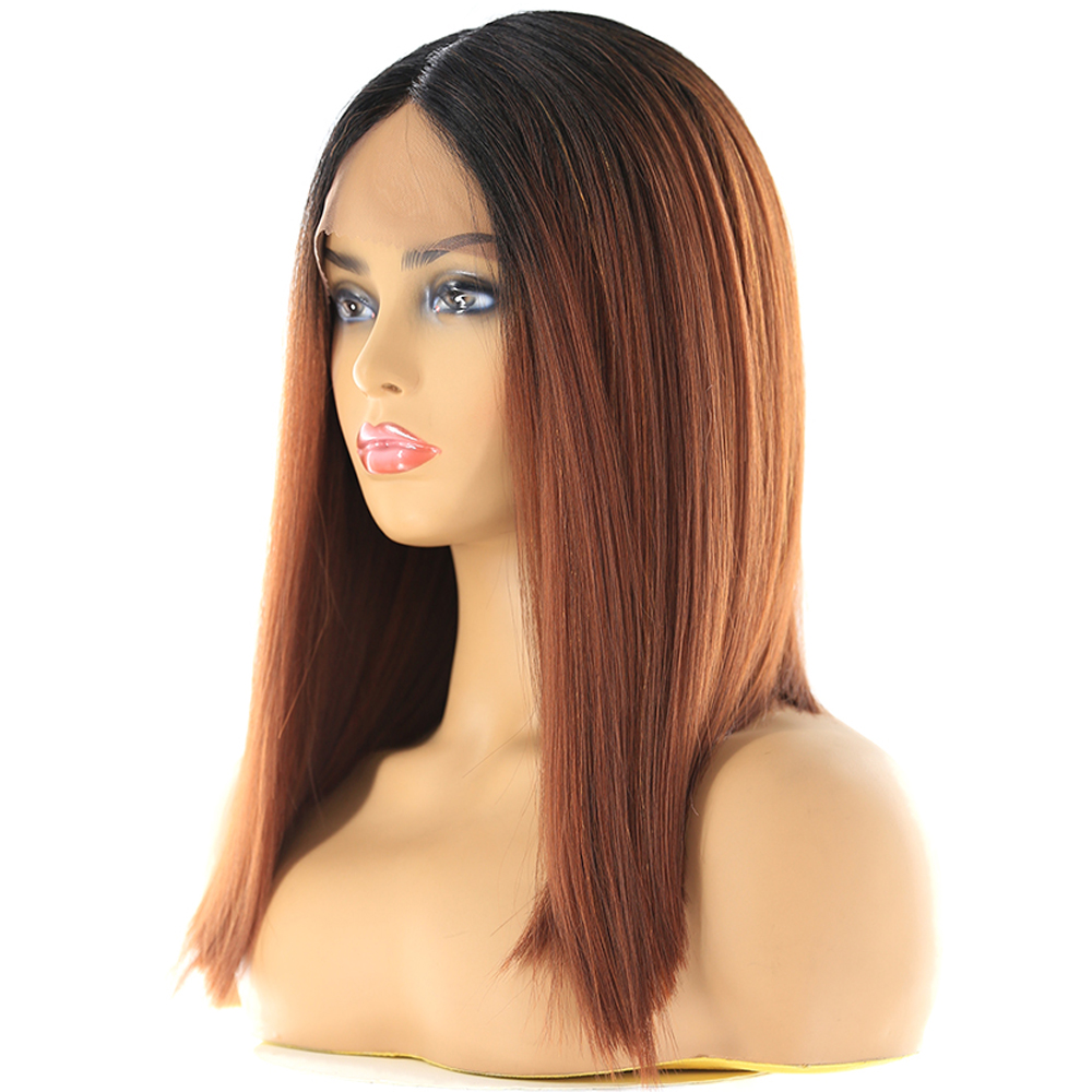 Image 4 - Ombre Green Blue Color Synthetic Lace Front Wigs For Black Women X TRESS Yaki Straight Blunt Short Bob Lace Wig Middle PartSynthetic Lace Wigs   -