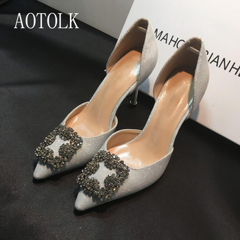 Women High Heels Brand Female Pumps Two Piece Colorful Metal Decoration Fashion Women Shoes Pointed Toe Casual Shoes 2020 PlusDE