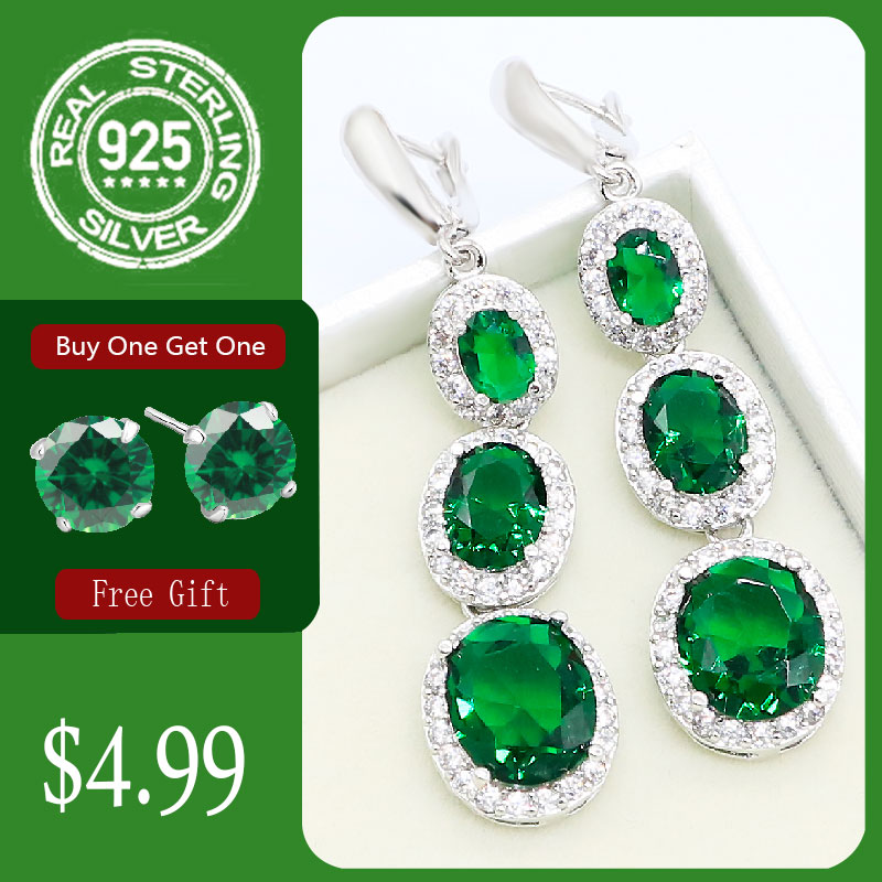 Green Emerald Blue Topaz 925 Silver Long Earrings For Women Wedding Jewelry Free Gift
