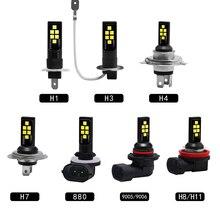 2x車のフォグランプH1 H3 H4 H7 H8/11 9005/HB3 9006/HB4 3030電球高パワーライトドライビングランプdrlアクセサリー白12v