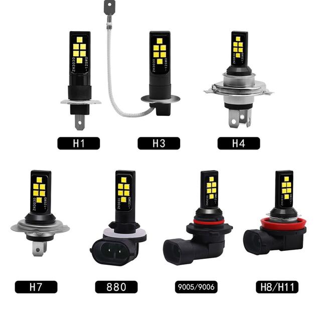 Luces antiniebla de coche, lámpara de conducción de alta potencia, accesorios DRL, blanco, 12V, H1 H3 H4 H7 H8/11 9005/HB3 9006/HB4 3030, 2 uds.