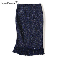 HarlayFashion Women High Quality Spring All match Slim Straight Chic Tweed Skirt Sequined Blue Tassel Slim Quality Skirt