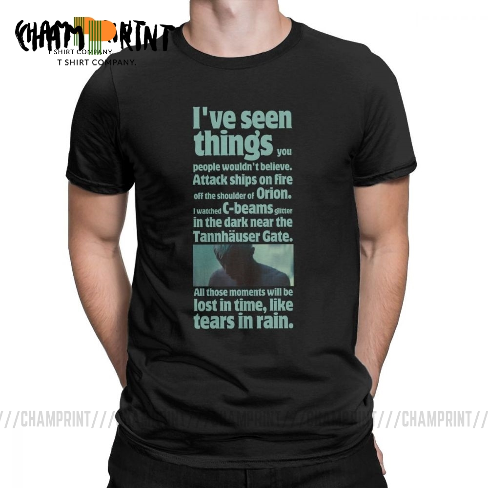 Vintage Like Tears In Rain T Shirts Blade Runner Quote Graphic T-Shirts Men Round Collar 100% Cotton Tee Shirt Plus Size Tops