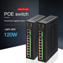 10-портовый гигабитный коммутатор POE, встроенный источник питания 120 Вт, VLAN, изолированный, 1000 Мбит/с, 8 портов POE + 2 переключателя Uplink Ethernet, исто...