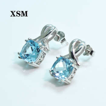 XSM Fine Jewelry 925 Sterling Silver Natural Blue Sky Topaz  Earring 925 Sterling Silver Fine Jewelry For Women Engagement Gift