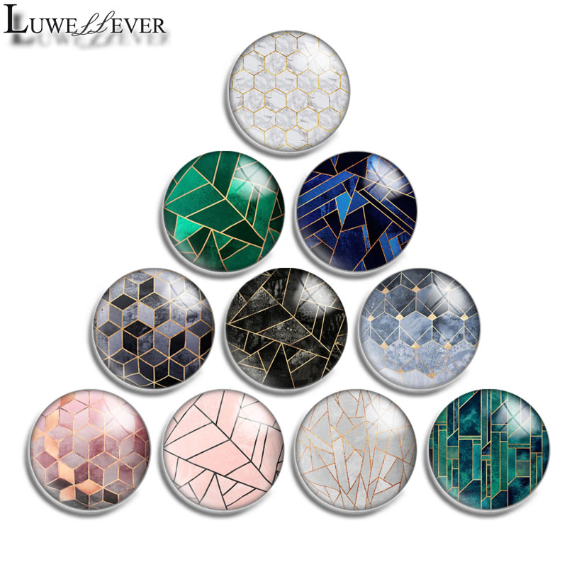 12mm 14mm 16mm 20mm 25mm 30mm 585 Geometric Mix Round Glass Cabochon Jewelry Finding 18mm Snap Button Charm Bracelet