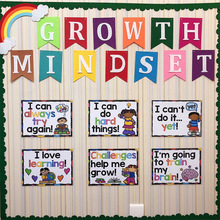 6Pcs/Set English A4 Plastic Big Card Growth Mindset Educational Poster Toys For Children Classroom Decoration Growth Thinking