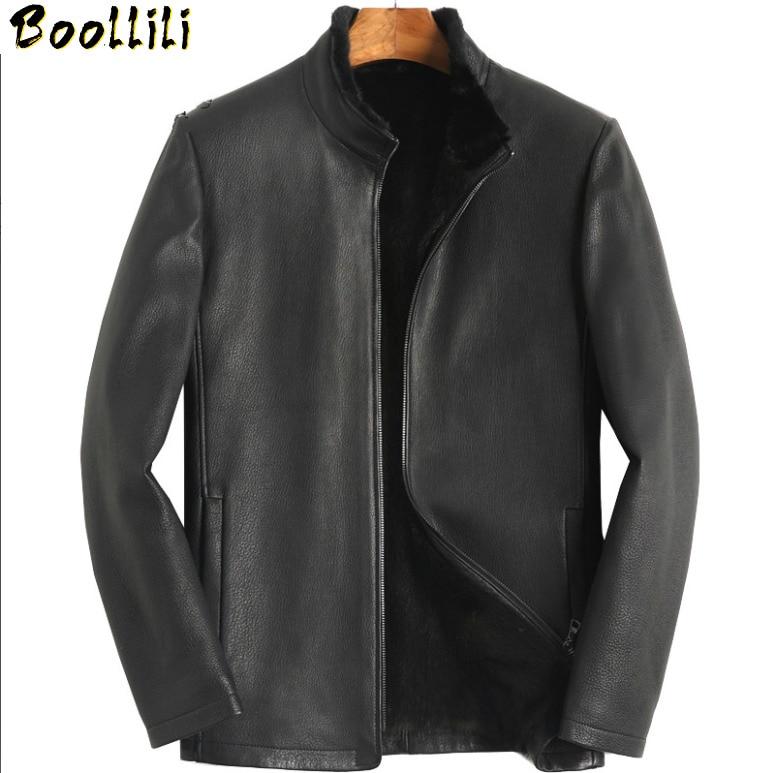 Boollili Genuine Leather Jacket Men Deerskin Leather Coat Natural Mink Fur Lining Winter Luxury Mens Mink Coats 2020