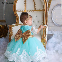 New Baby Infant Birthday Party Dress Kids Clothes with Bow Lace Applique Little Girls Clothes Party Gown with Headpiece