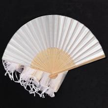 Abanicos de seda elegantes plegables, blancos, con bolsa de regalo, boda y fiesta, 21cm, 24 unids/lote