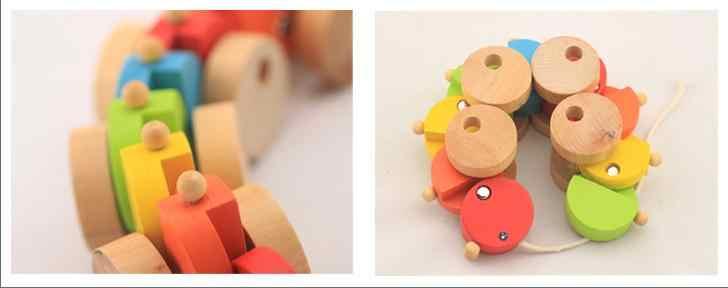 Dzieci drewno będzie squirmy Caterpillar samochodzik przeciągnij gąsienica pojazdy carpenterworm samochód dzieci przeciągnij drewniane zabawki klocki dla dzieci