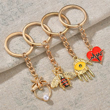 Creative Bee Palm Pendant Key Chains Personal Color Drop Oil Alloy Key Chain Student Bag Pendant Key Ring(China)