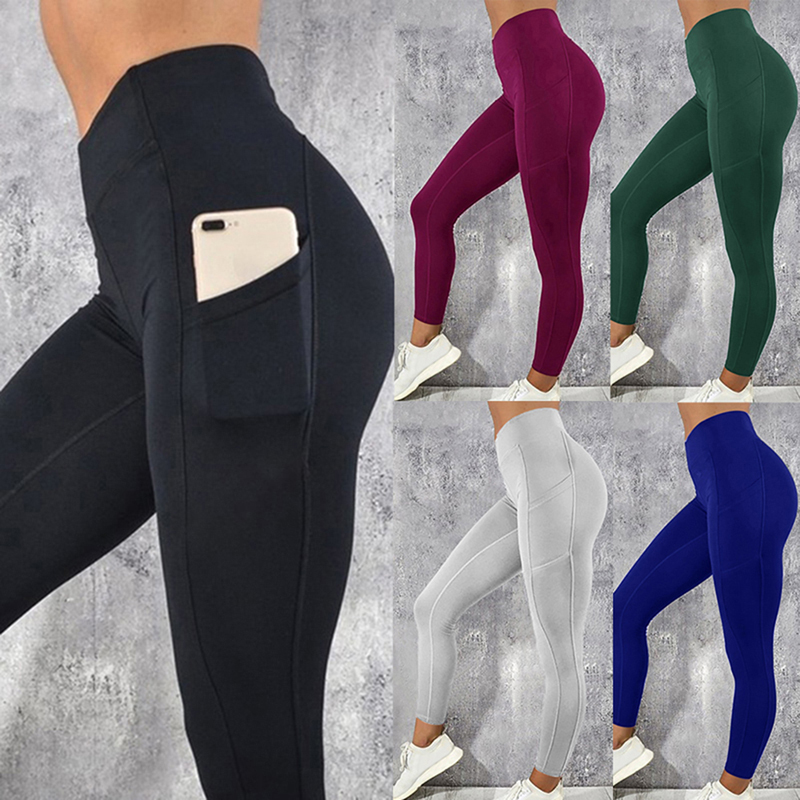 Sexy Fitness Women Gym Leggings Push Up High Waist Pocket Workout Slim Leggins Fashion Casual Mujer Pencil Pants