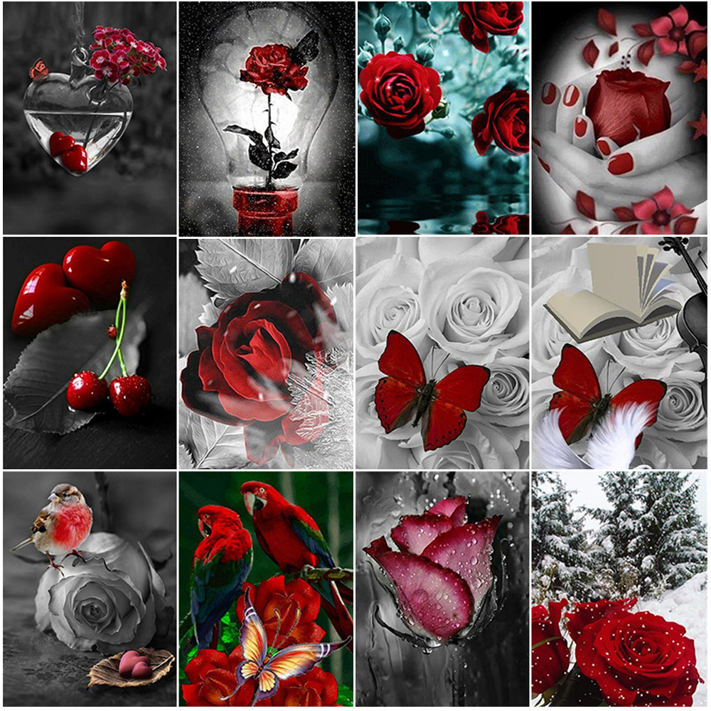 5D Diy Diamond painting Full Drill Red Rose cross stitch Diamond Mosaic Rhinestones pictures Daimond painting Embroidery Flowers