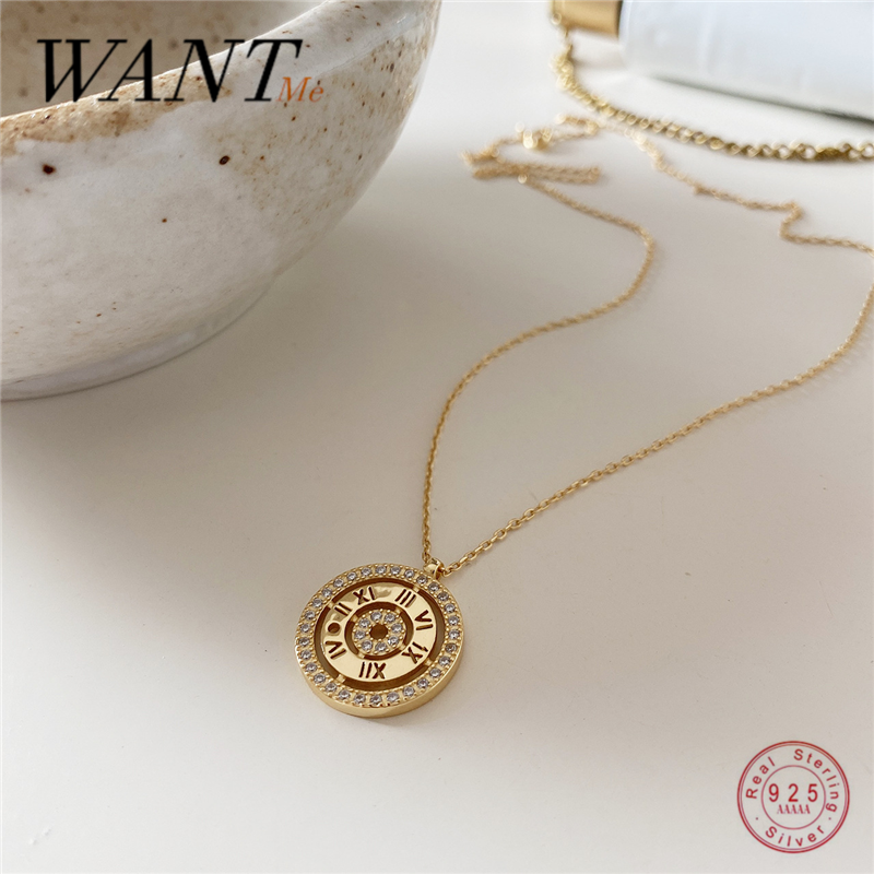 WANTME Genuine 100% 925 Sterling Silver Luxury Zircon Clock Watch Roman Numeral Pendant Necklace for Women Jewelry Accessories