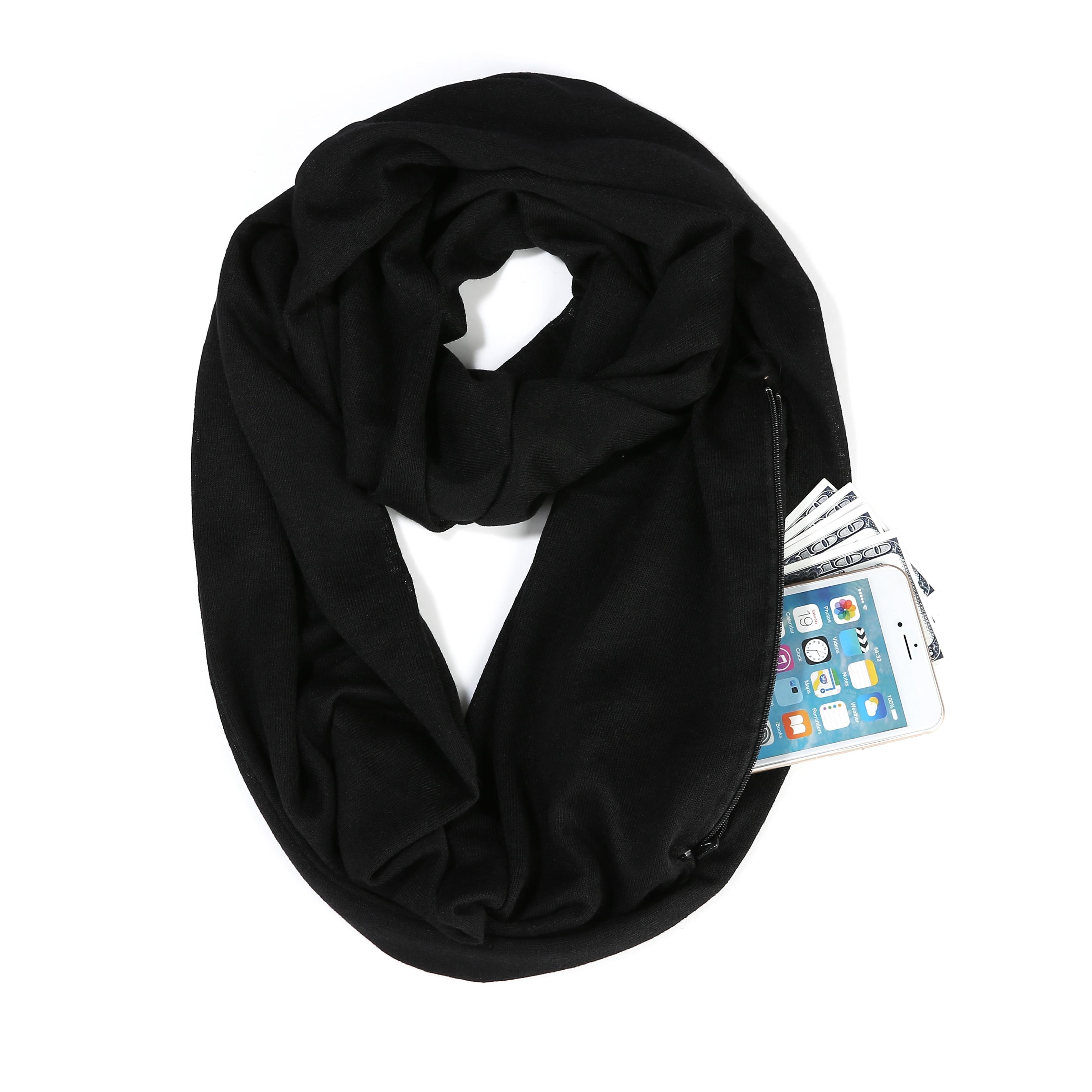 Girl Solid Black Winter Scarf With Pocket Knitted Warm Convertible Journey Women&Man Wrap With Secret Hidden Zipper Pocket Infin