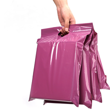 50Pcs New Purple Tote Bag Express Bag Plastic Poly Envelope Self-Seal Adhesive Thick Waterproof Courier Bags Handle Mailing Bags