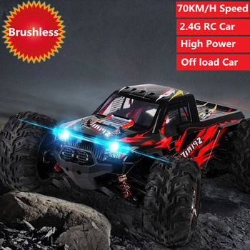 1/10 Scale 2.4Ghz 4WD 70KM/H High Speed RC Bigfoot Big Wheels Off-Road RC Truck With Brushless Motor high power Electric RC Cars image